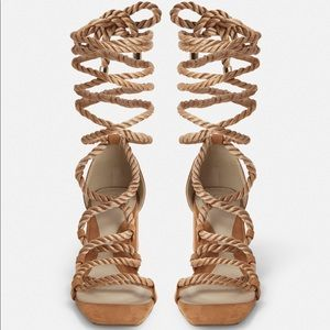 Misguided Tan Rope Lace Up Mid Heeled Sandals